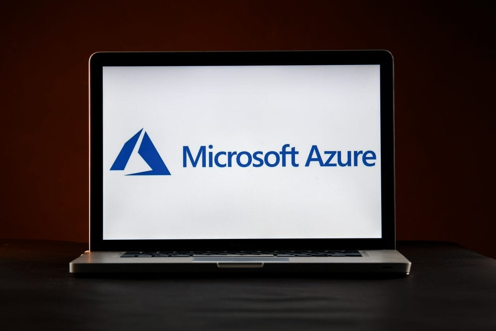 Microsoft Azure on a laptop
