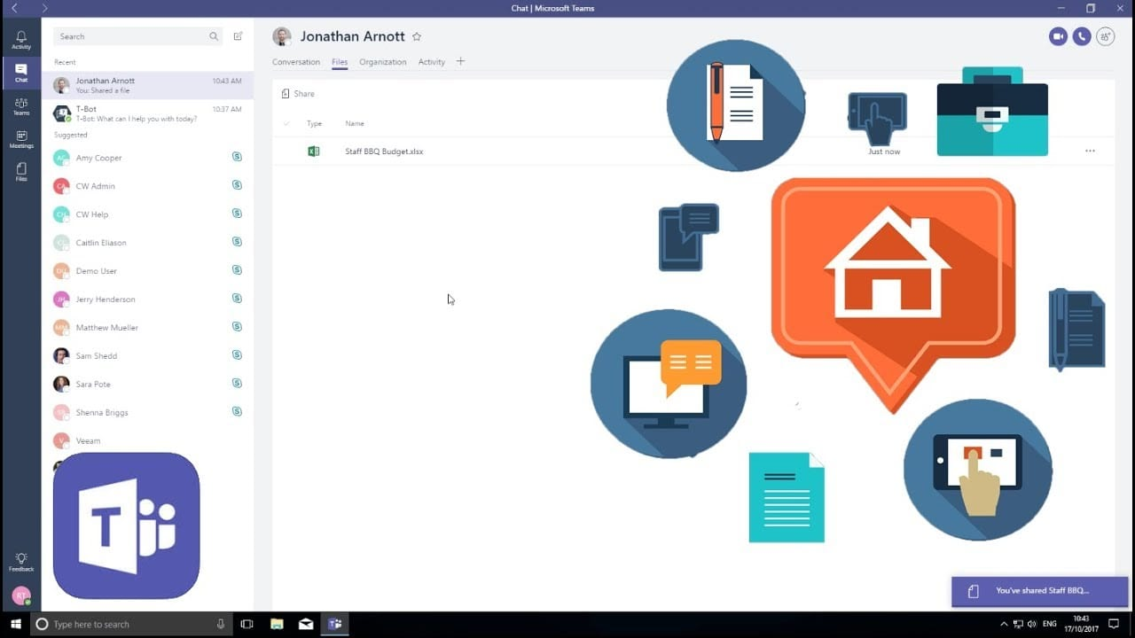 Microsoft teams makes remote work and team chat easy.