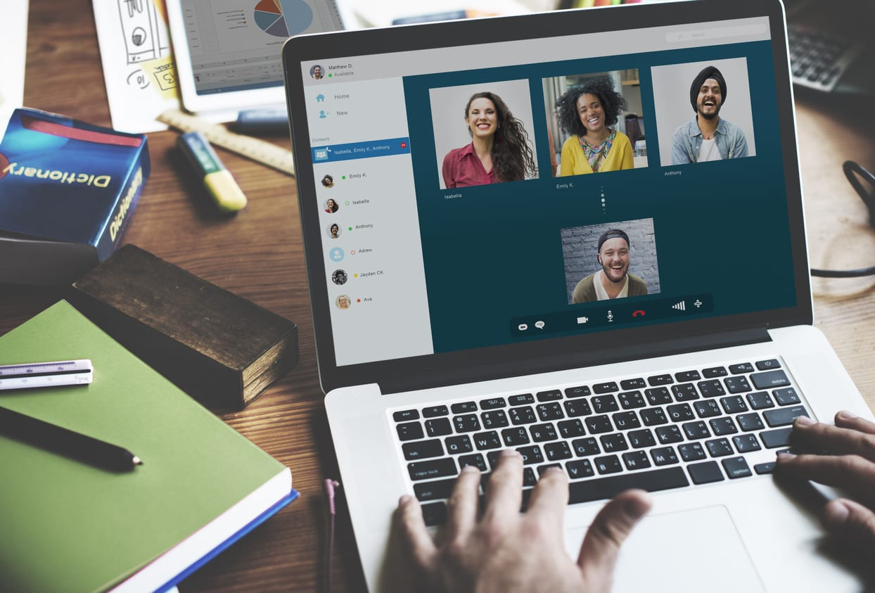 Remote working teams using video chat conference software to work from home.
